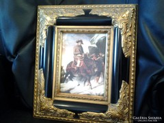 Napoleon in the alps, antique porcelain picture, luxury baroque gold frame