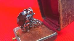 Antik gránát köves aranyozott ezüst gyűrű