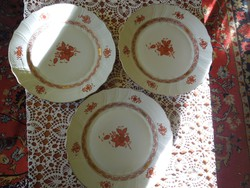 Antik herendi Aponyi orange, rocaille mintás lapos tányér