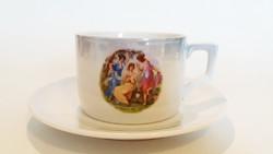 Zsolnay porcelán csésze vintage régi jelenetes teás 1db