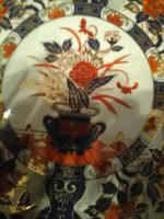 Tk Antik jelzett Ázsiai csodás színvilágú  arany+zafír díszes 21 cm-es tányér igazi művészi munka