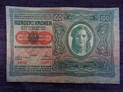 Osztrák 100 korona 1912 aUNC (középen gyenge hajtás)