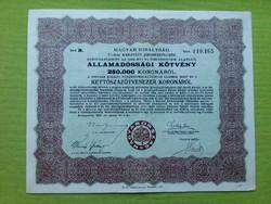 Államadóssági kötvény 250.000 koronáról 1925