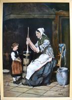 Moona - Köpülő nő MUNKÁCSY festményének másolata