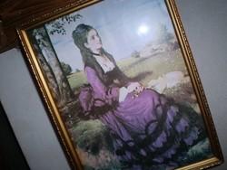 A lila ruhás nő, mint a festőművész felesége  Probstner Zsófia fotó,-selyem kép
