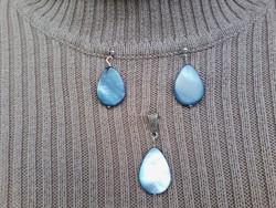 Kék csepp alakú gyöngyház /kagyló/ ékszer szett