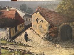 Zs. Blanche olaj festmény Utcakép 48x35cm