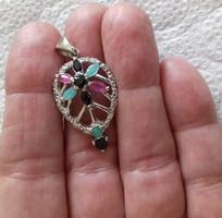 Smaragd,rubin,zafír 925 ezüst 14k arany medál