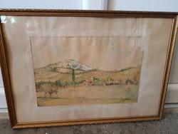 Antik, szignózott, akvarell kép