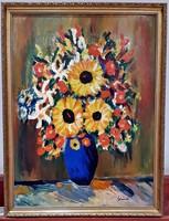 Schéner Mihály - Virágcsokor -  kék vázában - 87 x 66 cm