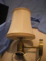 N15 DDR fali lámpa réz +fa díszes  együttes  szép  szövet burával szép állapotban eladó