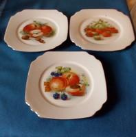 Antik Bareuther porcelán süteményes tányér 3 db