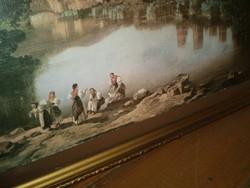 Mosónők a tóparton fotó,-selyem kép aranyozott keretben
