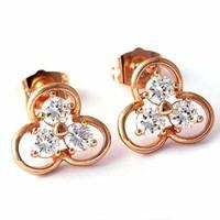 Töltött arany (GF) fülbevaló 3 darab fehér CZ kristállyal