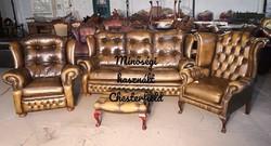 Gyönyörű chesterfield,eredeti Angol,valódi bőr ülőgarnitúra!