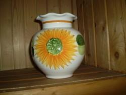Porcelán öblös váza,fehér, napraforgó és levél mintával