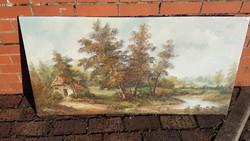 Nagyméretű olaj vászon festmény tájkép házzal