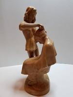 RITKASÁG!!! Fodrász kerámia szobor 30 cm jelzett Kőműves