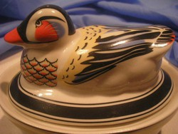 N15 Art decó kacsás élénk csodás színű porcelán tároló ritkaság eladó