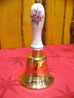 Ritka sárgaréz karácsonyi csengő, cselédhívó rózsa mintás porcelán nyéllel