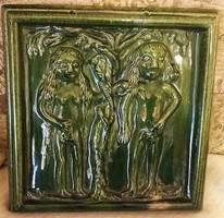 Ádám és Éva a Paradicsomban ,jelzett , nagy kerámiamázas falikép !