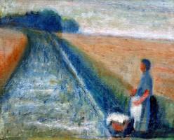Ismeretlen festő tájképe! 1900-as évek első fele!