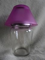 Üveg - króm asztali lámpa alakú mécsestartó