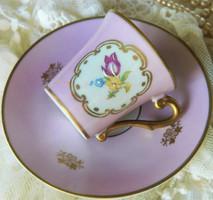 Gyönyörű kézzel festett antik PM mokkás szett 1901, csésze kistányér, pink