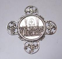 Antik ezüst keresztelő érem