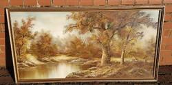 Nagyméretű olaj vászon festmény, tájkép