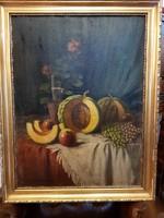Eredeti Szász István festmény gyümölcs csendélet olaj, vászon 60 x 80 cm