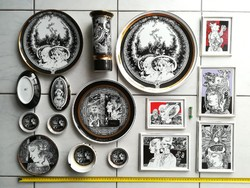 Száz Endre ritka hollóházi aranyozott porcelán gyűjtemény,Váza, Kép, Faliátnyér, Bonbonier, Hamutál.