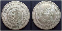Mexikó ezüsttartalmú 1 pezó 1960