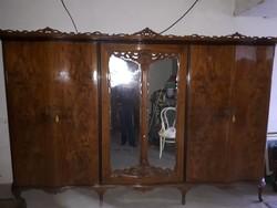 Olasz chippendale ruhásszekrény, '50-es évek ,komplett hálószoba bútor része