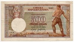 Szerbia német megszállás 500 szerb Dínár, 1942