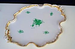 Herendi zöld Apponyi mintás barokk nagy méretű tálca