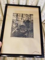 Perlmutter Izsák Anya gyermekeivel ritka rézkarc