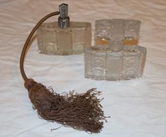 Cseh art deco, csiszolt üveg parfümös készlet