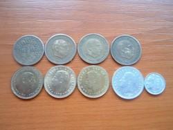 SPANYOL 1 PESETA 1944-1991 9 DB 1944,1947,1953,1963,1966,1975,1980,1987,1991