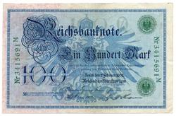 Németország 100 német birodalmi Márka, 1908, zöld pecsétes