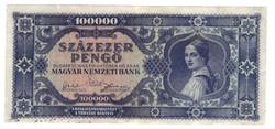 Kék 100000 pengő 1945 Nagyon ritka