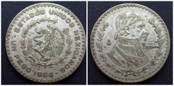 Mexikó ezüsttartalmú 1 pezó 1964