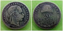 Ezüst 20 Krajcár 1870 GYF