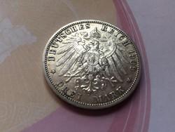 1909 porosz ezüst 3 márka,gyönyörű darab 16,7 gramm
