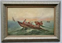 KURIÓZUMOK GARANCIÁVAL F. Boscari - Közeledik a vihar, Velencei hajósok XIX. olasz mester nagyméretű