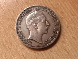1902 porosz ezüst 5 márka 27,7 gramm 0,900 szép darab