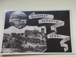 Képeslap Budapest, 1945.Bombazas után.