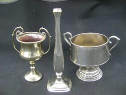 2 db empir kétfüles fém kehely vagy kupa, 1 db art deco fém váza