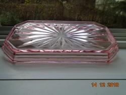 Antik rózsaszínű üveg lépcsőzetes nyolcszögletes rozettás tálca-18,2x15x2,5 cm