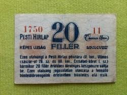 20 fillér Pesti Hírlap